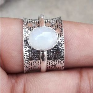 Moonstone Ring 925 Sterling Silver Spinner Ring